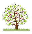 color silhouette of tree with leaves in shape of vector image