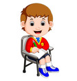 boy student studying and writing vector image