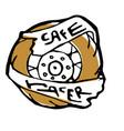 moto biker theme icon cafe racer golden white vector image