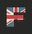 capital 3d letter f with uk flag texture isolated vector image