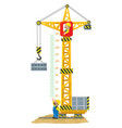 Construction crane meter wall or height chart vector image