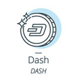 dash cryptocurrency coin line icon of virtual vector image