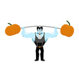 Strong Dracula holding rod and pumpkin Sports vector image