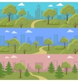 Set of City Park Concepts In Flat Design vector image