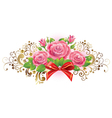 Horizontal vignette of roses and golden curls vector image vector image