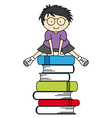 Boy jumping some books vector image vector image
