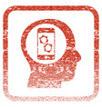 smartphone mind control framed textured icon vector image