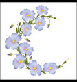 wreath of flax flowers round ornament vector image