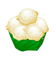 Thai Coconut Rice Cake in Counts Banana Leaf vector image vector image