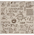 hand- drawn computer icons  vector image