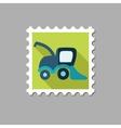 Combine harvester flat stamp vector image