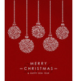 Merry christmas happy new year outline bauble deco vector image vector image