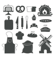 Set of bread products bakery symbols coffee shop vector image