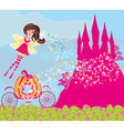 beautiful fairytale pink castle vector image