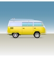 Classic yellow minivan with surfboard Vintage bus vector image