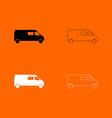 minibus black and white set icon vector image