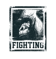 Monkey Face With Fighting Inscription vector image