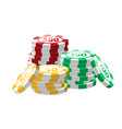 red green yellow poker chips - modern vector image