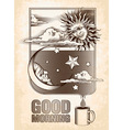 Vintage drawing of the sun moon and stars vector image