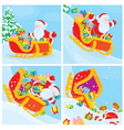 Santa in his sleigh slides down the hill vector image
