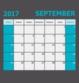 September 2017 calendar week starts on Sunday vector image