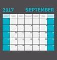 September 2017 calendar week starts on Sunday vector image