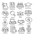 Business management icons in line style Pack 20 vector image