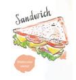 Triangular sandwich watercolor vector image