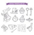 Wonderland hand drawn set of design elements vector image