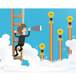 businessman climb ladder into sky and use vector image