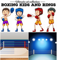 Boxers and ring in blue and red vector image