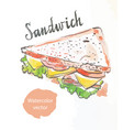 triangular sandwich watercolor vector image
