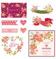 Floral Wedding Set - for Wedding Decoration vector image vector image