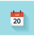 June 20  flat daily calendar icon Date vector image