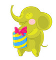 cute green elephant laughs and rejoices at the vector image