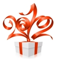 Gift box and red ribbon vector image