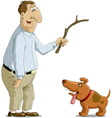 mand and dog vector image
