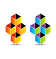 Logo with colorful cubes and shadow vector image