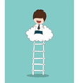 Business man up stairs to successful up cloud vector image