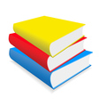 three multicoloured books lay on a white backgroun vector image vector image