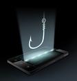 fishhook on the smartphone vector image
