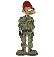 Funny soldier in a camouflage dress vector image
