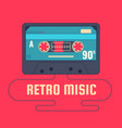 audio cassette on red background retro music 90s vector image
