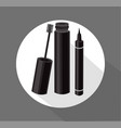 black mascara brush eyeliner cosmetics vector image