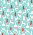 deer and christmas tree pattern vector image