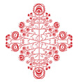 Polish folk inspired floral red and whitepattern vector image