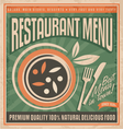 Retro restaurant menu poster design vector image