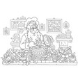 santa claus cooking vector image