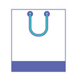 square shopping bag icon with handle in blue and vector image