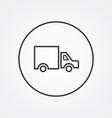 truck outline symbol dark on white background logo vector image